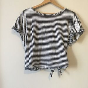 Zara Navy Stripped T-Shirt with Bow